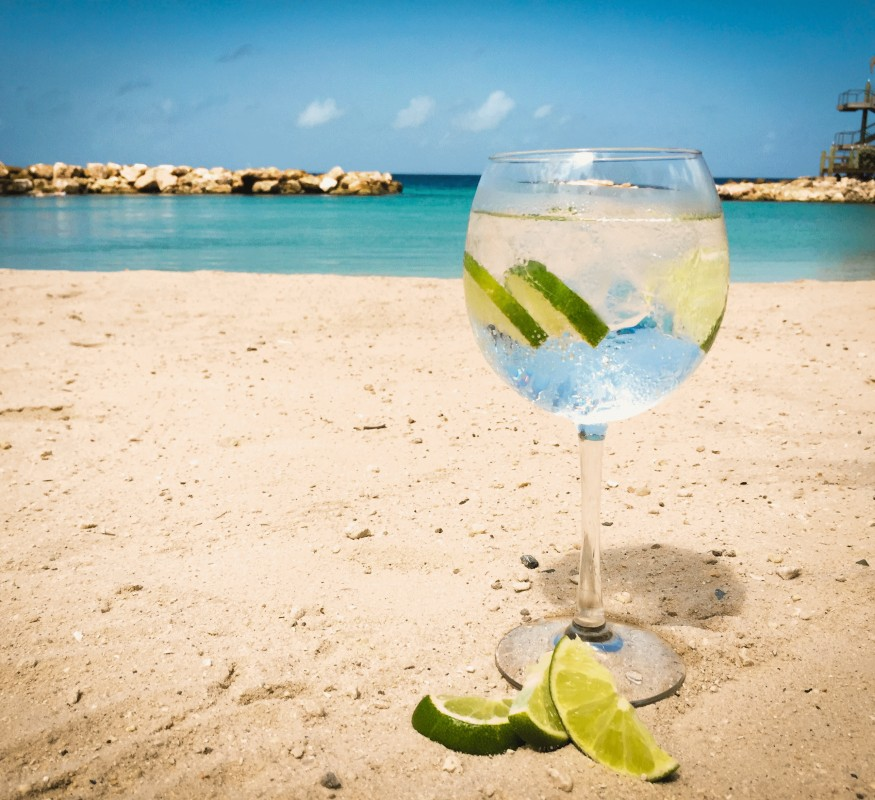 Gin tonic are even better on the beach
