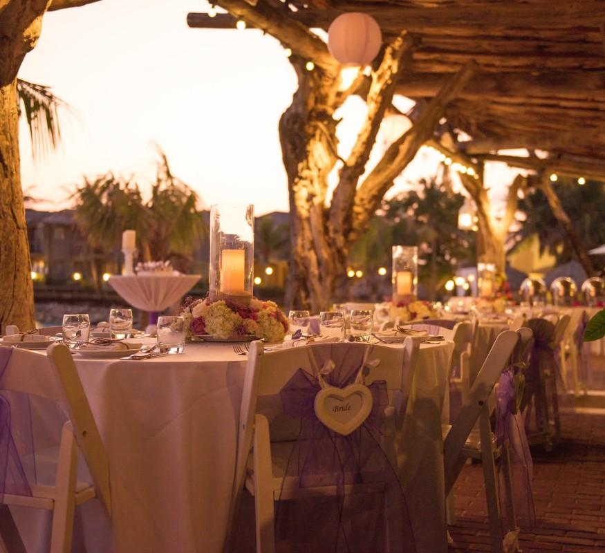 Hochzeit Abendessen auf Sea Terrace mit Meer Blick